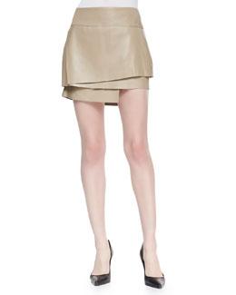 Helmut Lang Layered Leather Miniskirt