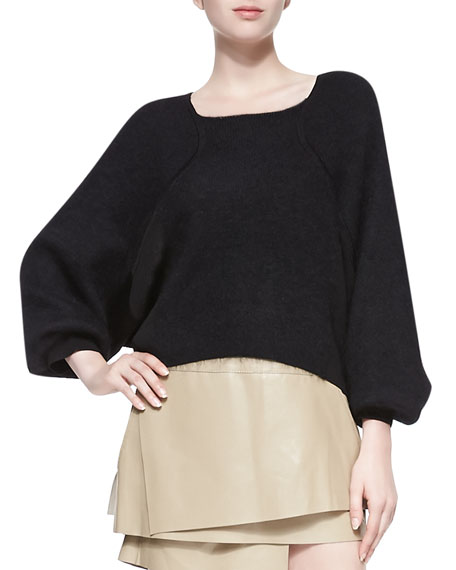 Mixed-Knit Oversize Pullover