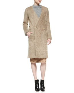 No.21 Mohair Collarless Coat, Camel