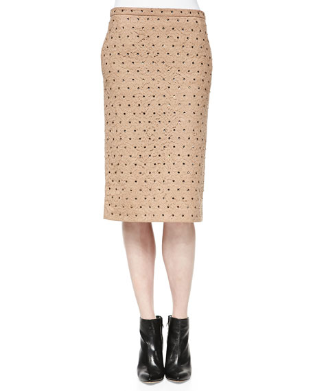 Crystal-Studded Lace Pencil Skirt, Camel