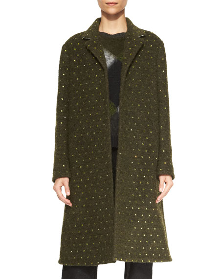 Crystal-Studded Boucle Coat, Dark Green