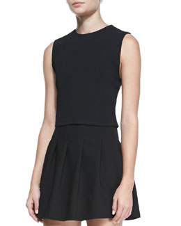 Alice + Olivia Jersey Crewneck Cropped Top