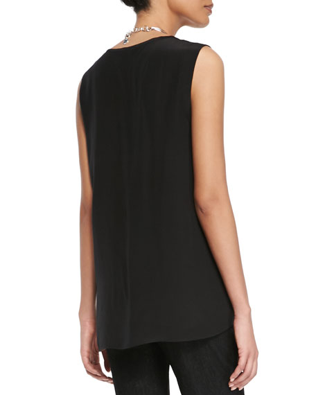 Sleeveless Long Silk Top, Black
