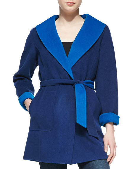 Neiman Marcus Double-Face Coat with Tie Belt