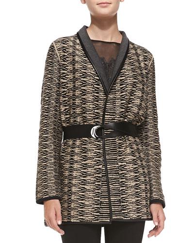 Jazz Age Faux-Leather-Trim Jacket, Petite