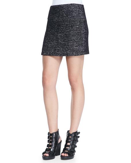 Tweed Clean Fitted Skirt, Black/White