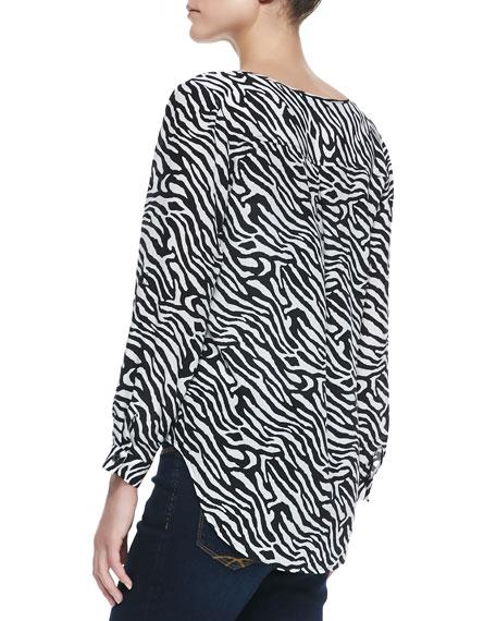 Zebra-Print Long-Sleeve High-Low Top