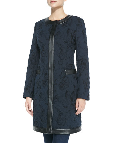 Neiman Marcus Quilted Jacket with Faux-Leather Trim