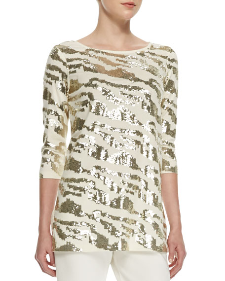 Joan Vass Sequined Animal Tunic, Ivory