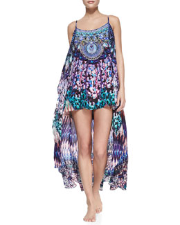 Camilla Silk High-Low Coverup Dress