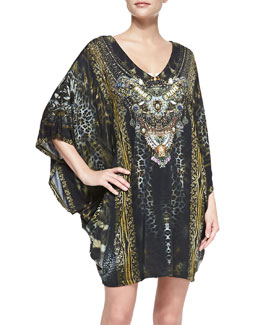 Camilla Silk Mixed-Print Bat-Sleeve Mini-Dress Coverup