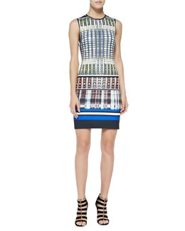 Clover Canyon Donegal Mixed-Print Sleeveless Dress