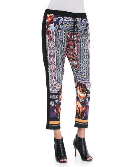 Mixed-Print Cropped Drawstring Pants