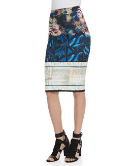 Clover Canyon James Joyce Mixed-Print Pencil Skirt