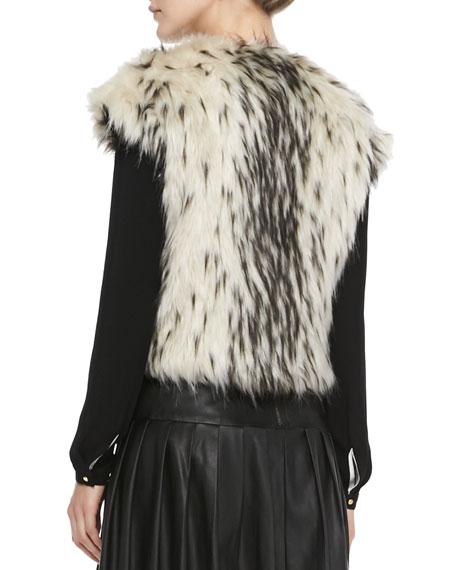 Chainmail-Detail Faux-Fur Vest