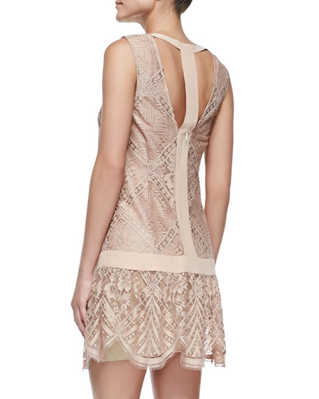 Lace T Back Mini Dress