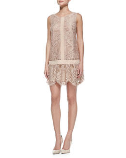 12th Street by Cynthia Vincent Lace T-Back Mini Dress