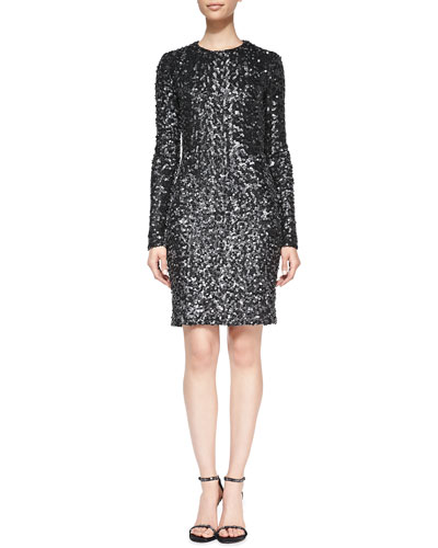 Adrienne Long-Sleeve Sequined Dress