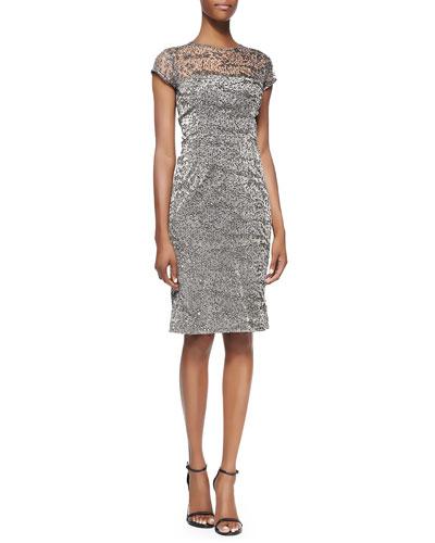 Kalinka Cap-Sleeve Glitter Animal-Print Cocktail Dress