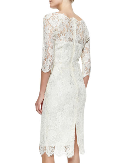 3/4-Sleeve Glittering Lace Cocktail Dress