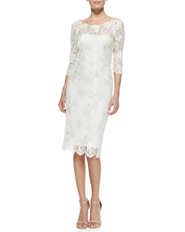 Kalinka 3/4-Sleeve Glittering Lace Cocktail Dress
