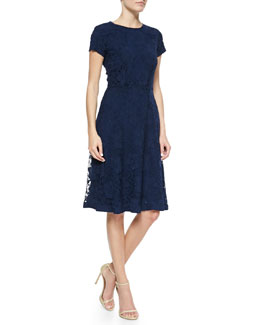 Kalinka Short-Sleeve Lace Cocktail Dress