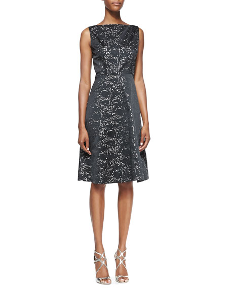 Sleeveless Metallic & Black Taffeta A-Line Cocktail Dress