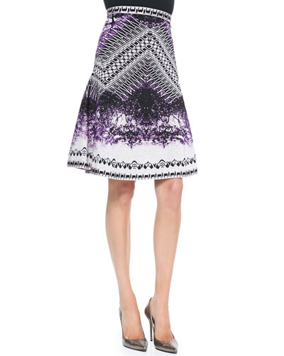 Herve Leger Veda Photographic High-Waisted Skirt