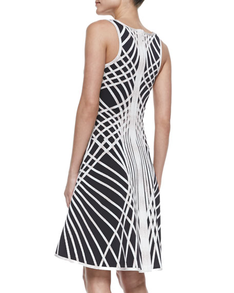 Eva Optic Crisscross-Print Sleeveless Dress