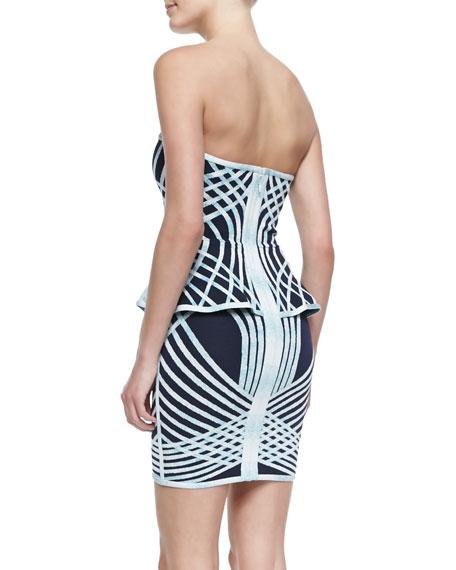 Annette Optic Crisscross-Print Strapless Bandage Dress