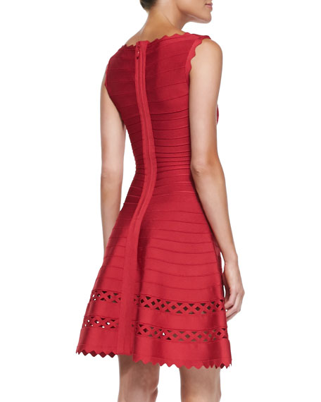 Audrina Cutout Fit-and-Flare Bandage Dress