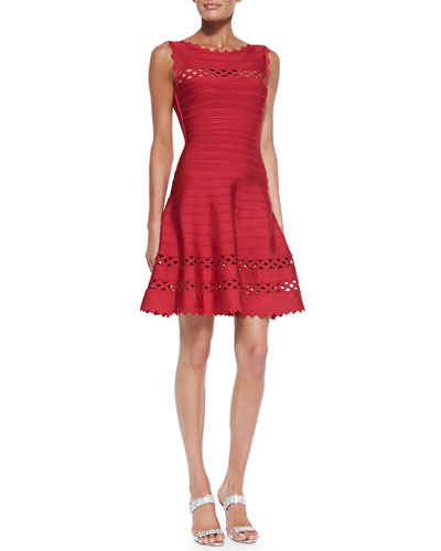 Herve Leger Audrina Cutout Fit-and-Flare Bandage Dress