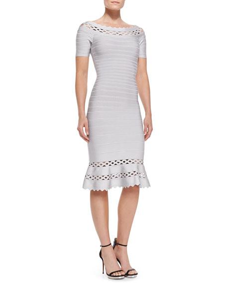Claudia Scallop-Trim Cutout Bandage Dress