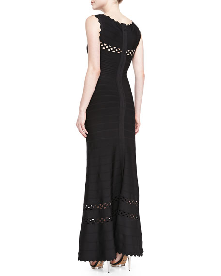 Nathalie Cutout-Trim Scalloped Bandage Gown