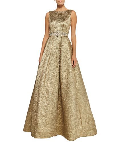 Theia Sleeveless Beaded-Waist Ball Gown