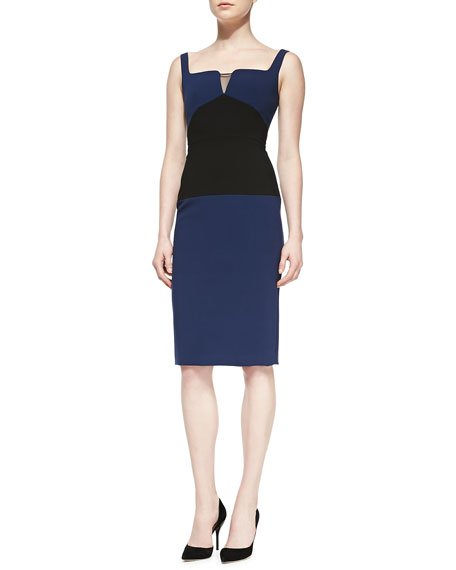 Black Halo Bronx Colorblocked Sheath Dress