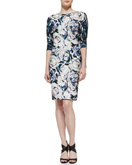 Black Halo Chesney Floral-Print Sheath Dress