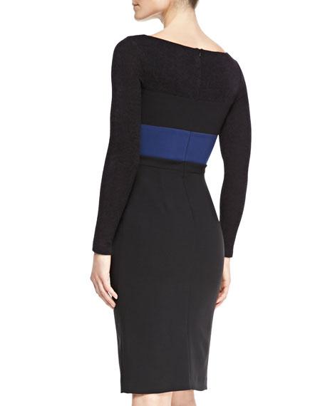 Liam Long-Sleeve Colorblock Sheath Dress