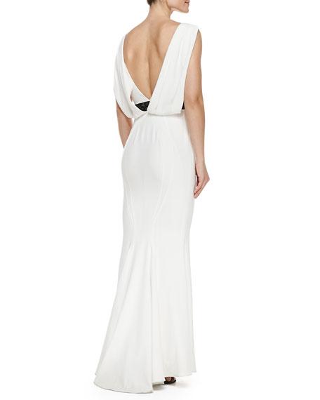 Sleeveless Cowl-Back Gown, Ivory/Black