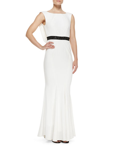Sleeveless Cowl-Back Gown, Ivory/Black