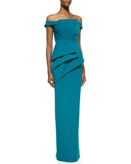 Black Halo Eve La Reina Off-The Shoulder Gown, Evergreen