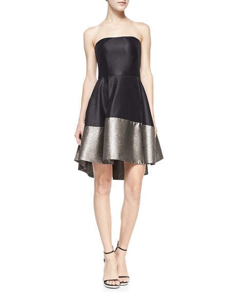 Clarkson Strapless Cocktail Mini Dress, Black/Bronze