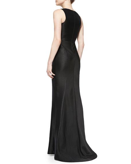 Zayden Woven & Pleated Crepe Cutout Dress