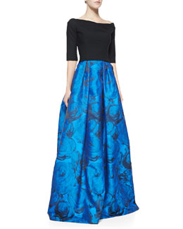 Black Halo Eve Hayley Colorblocked Full-Skirt Gown
