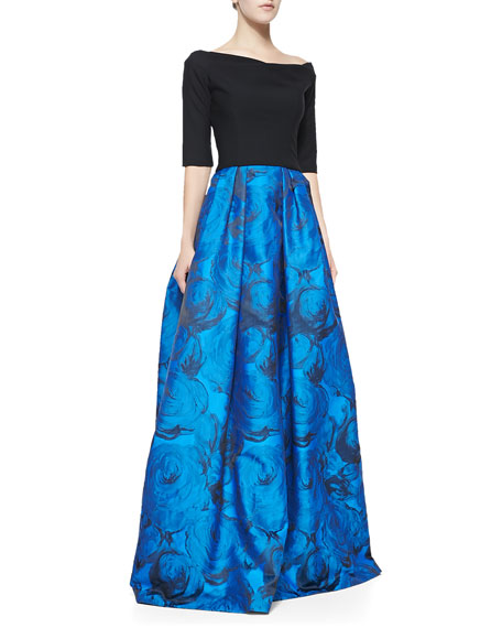 Hayley Colorblocked Full-Skirt Gown