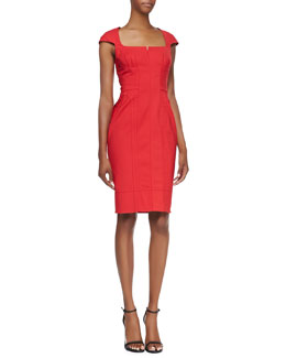Byron Lars Beauty Mark Cap-Sleeve Button-Back Dress