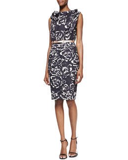 Byron Lars Beauty Mark Twist-Neck Belted Floral-Print Sheath Dress