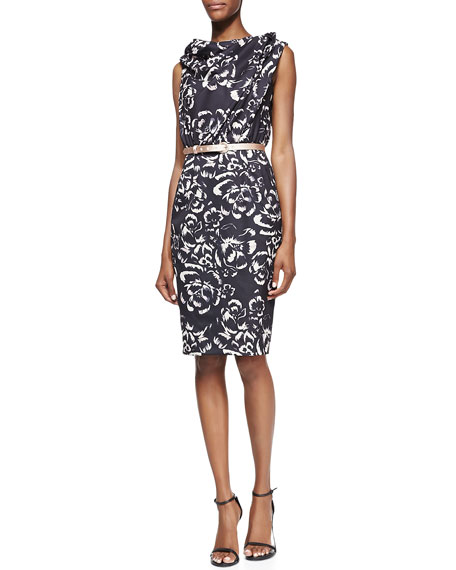 Twist-Neck Belted Floral-Print Sheath Dress