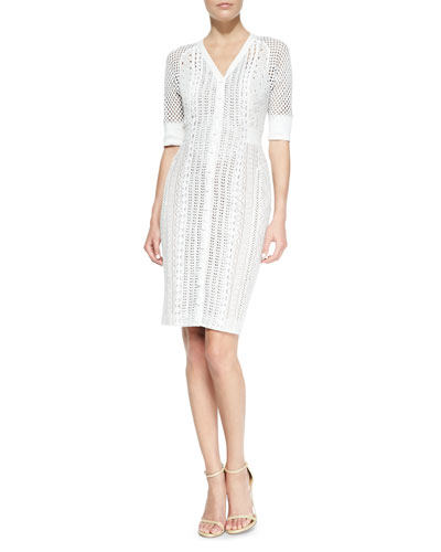 Byron Lars Beauty Mark 3/4-Sleeve Mixed Crochet Dress