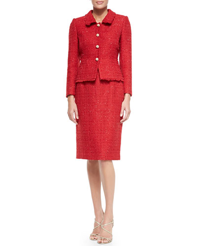 Tahari Metallic Tweed Skirt Suit